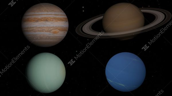 The 4 Gas Giants Planets In The Solar System Stock video ...