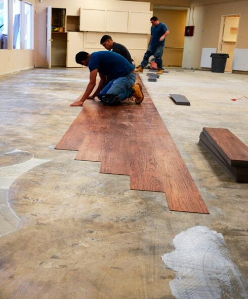 commercial flooring installation in