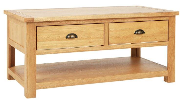 buy habitat kent 2 drawer oak oak veneer coffee table oak coffee tables argos