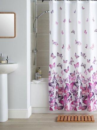 buy argos home butterflies shower curtain pink shower curtains argos