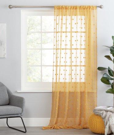 buy argos home pom pom tab top voile curtain panel mustard curtains argos