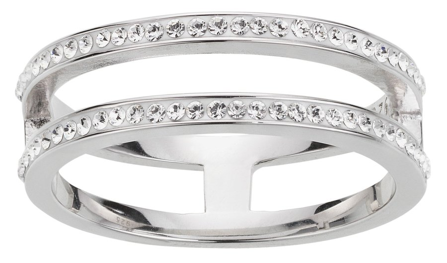 Buy Evoke Rhodium Plated Sterling Silver Double Band Ring   Limited     Evoke Rhodium Plated Sterling Silver Double Band Ring