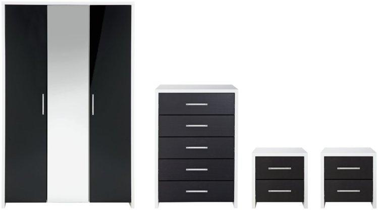 buy habitat broadway gloss 4 piece wardrobe set black white bedroom furniture sets argos