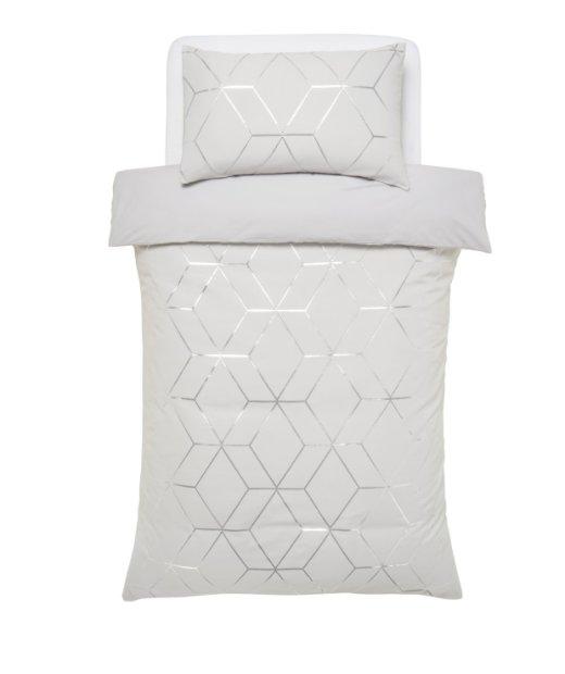 buy argos home silver jacquard geo bedding set single duvet cover sets argos