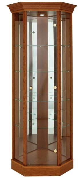Buy HOME Corner Glass Display Cabinet Dark Oak Effect At