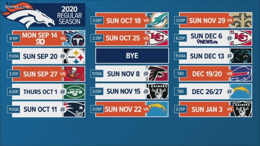 Denver Broncos 2020 NFL preseason and regular season schedule ...