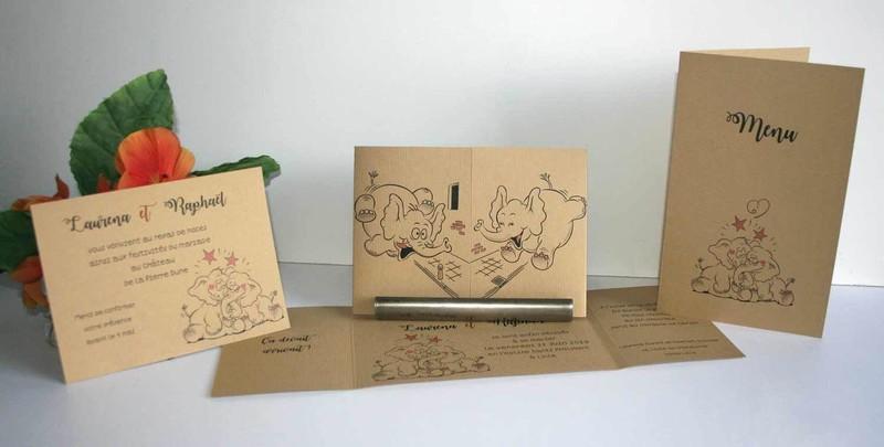 faire part de mariage invitation elephanto