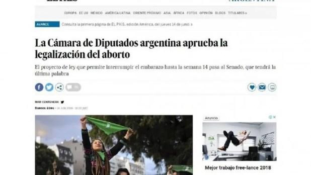 """En los diarios del mundo destacan el avance del aborto """"en el país del Papa Francisco"""""""