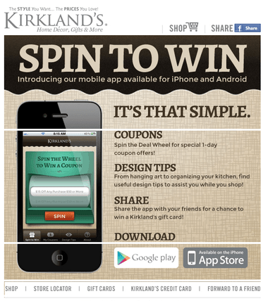 Kirkland's free app features spin & win coupon game | AL.com on Kirkland's Spin To Win Iphone id=39050