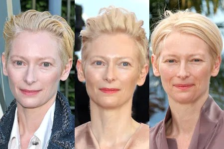 Tilda Swintons Bare Faced Beauty And Rocking Haircut