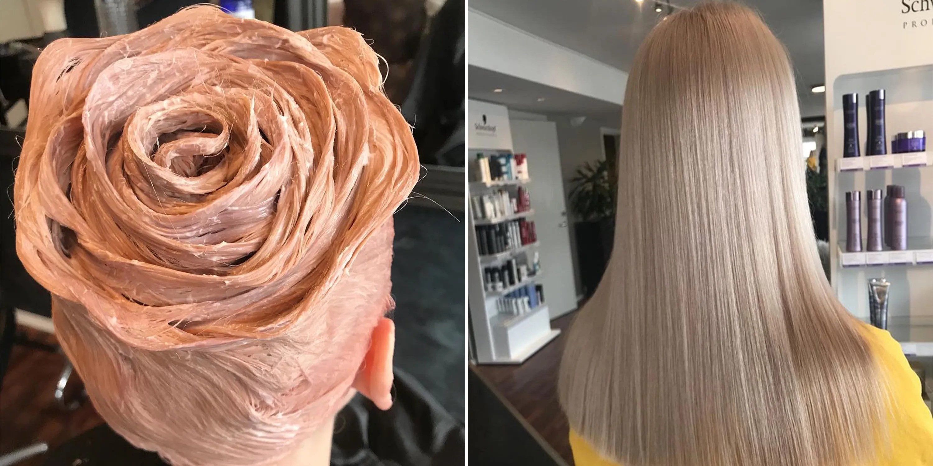 Photo Of Rose Gold Hair Shaped Into A Rose Goes Viral On