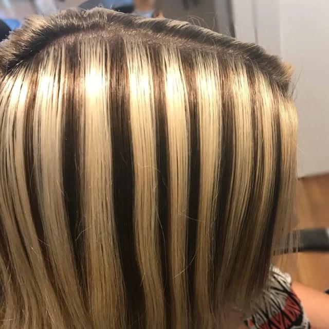 hairstylist transforms bad highlights into platinum blonde