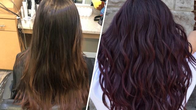 "wine hair"" is the deep purple fall hair color | allure"