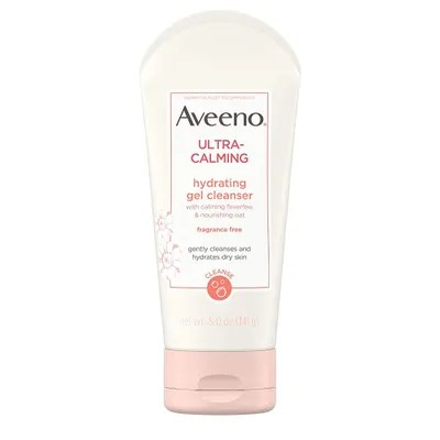 Best Cleansers for Sensitive Skin tube of Aveeno UltraCalming Hydrating Gel Cleanser on a white background