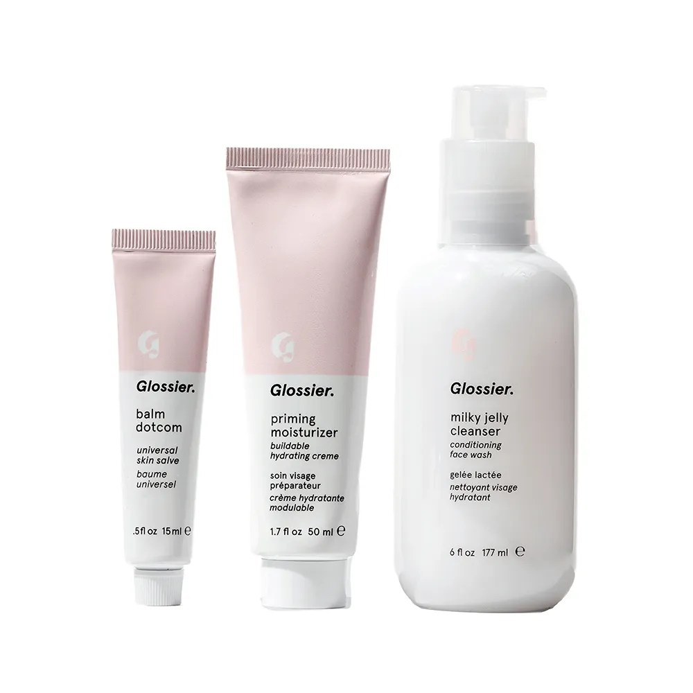 Glossier The 3-Step Skincare Routine on white background