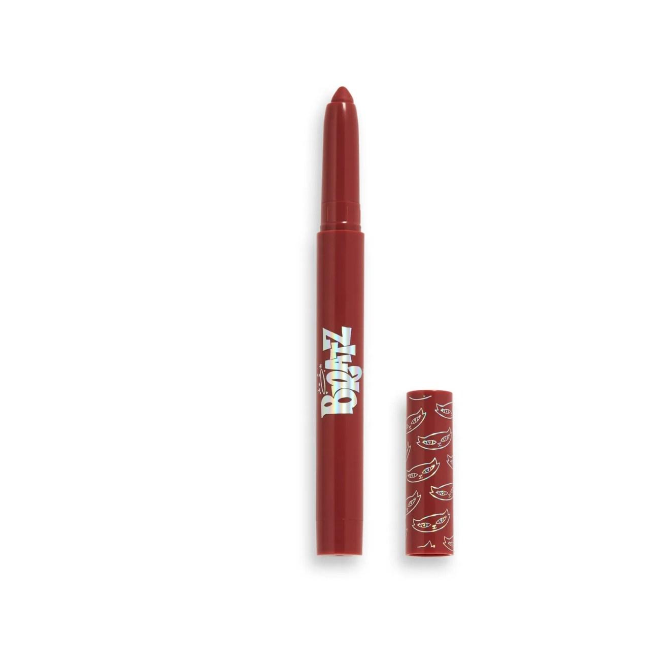 makeup revolution x bratz jade lip crayon on white background