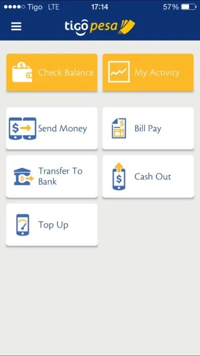 Tigo Pesa App layout image