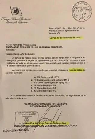 La carta donde un exmilitar boliviano le agradece al embajador argentino durante el gobierno de Macri el envío de pertrechos militares.