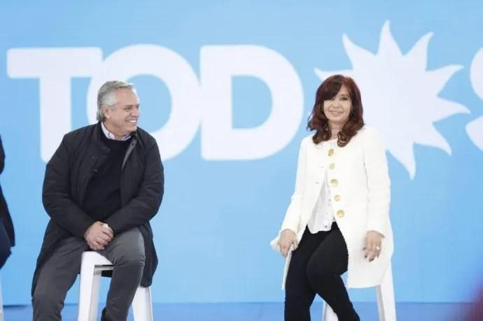 Cristina Fernández de Kirchner junto a Alberto Fernández en Garín, Escobar.