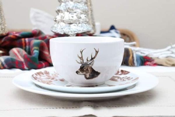 Create a stunning but simple place setting for the holidays by adding whimsically patterned layers. (Photo by Rebekah Dempsey/A Blissful Nest)