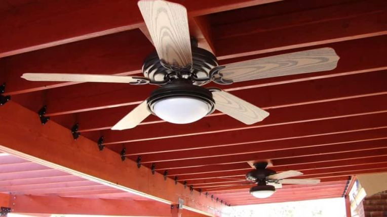 How Much Does Ceiling Fan Installation Cost    Angie s List ceiling fan installed in outdoor patio area