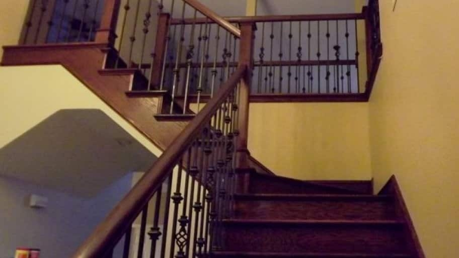 How To Stain A Stair Banister Angie S List | Cost Of Staining Stairs | Stair Railings | Hardwood | Stair Tread | Handrail | Basement Stairs