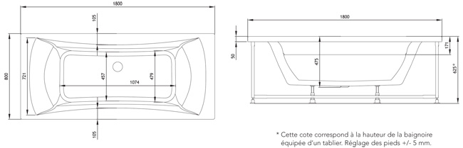 Baignoire Balno Rectangle JOKER 180x80 Grandform