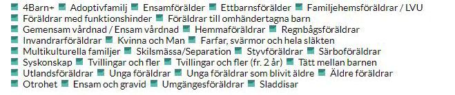 """Snackgrupperna i kategorin """"Familj och relationer"""". Skärmbild från AFF:s arkiv."""