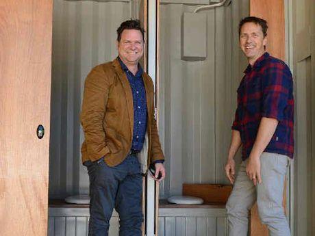 OFFICIAL DUTY: Mayor Simon Richardson and Parklands GM Mat Morris unveil the new toilets.