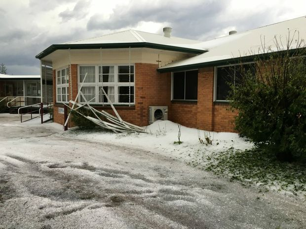 A hailstorm caused severe damage to Chinchilla Hospital.