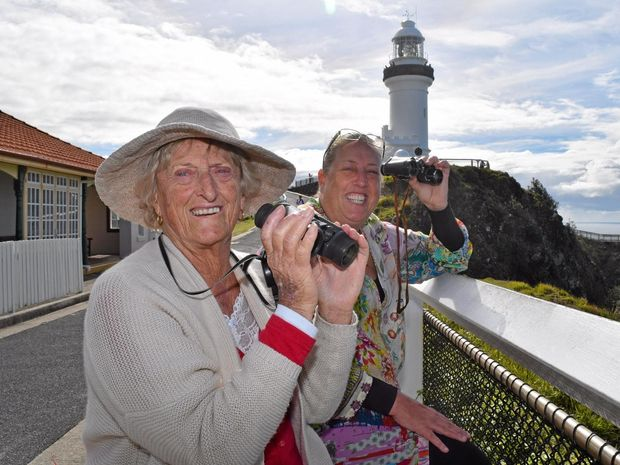 WHALE WATCHERS: Dedicated whale watchers Elaine Reid from Byron Bay with Tiffany Lee from Tyagarah will be on the headland this Sunday for the annual whale census.