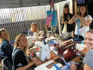 """The Byron Mermaids are sewing reusable """"boomerang"""" bags for people to borrow and bring back."""