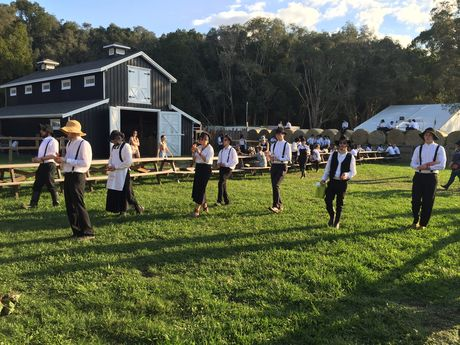 The Amish Armada was back at Splendour this year as the art project by Bennett Miller.