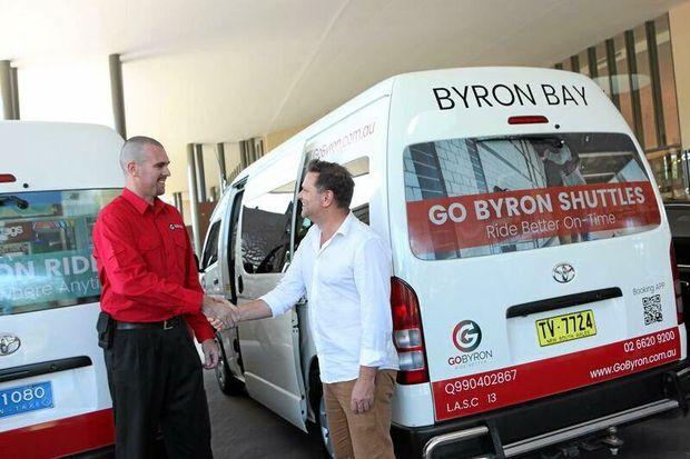 ON THE GO: Operations manager of GoByron Jason Pitt with Byron Shire mayor Simon Richardson.