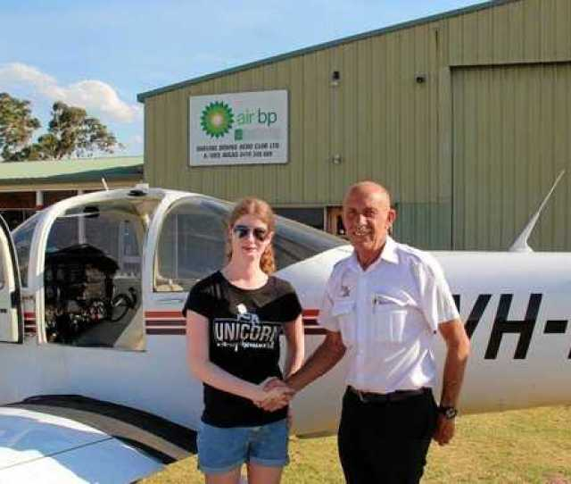 Milestone Moment Toowoomba Teenager Emily Taylor With Instructor Mike Waldburger After Her First Solo