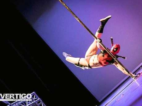 Tamara MacKenzie in her Deadpool pole routine.