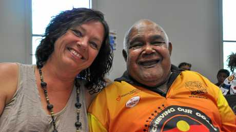Toni Park with Carbal Medical Centre patient, Githabul elder Amos Close. Photo Jayden Brown / Warwick Daily News