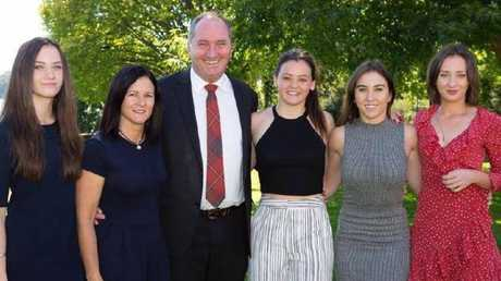 Barnaby Joyce with former wife Natalie, and daughters, from left, Odette, Caroline, Julia and Bridgette
