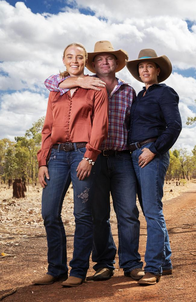 Tick and Kate Everett with their eldest daughter Meg at home. Picture: Lachie Millard