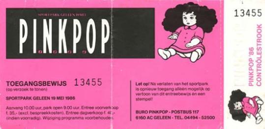 Pinkpop 05/19/1986 concert ticket (apoplife.nl)
