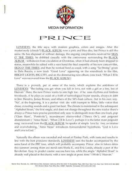 Prince - Lovesexy Warner promo (lansuresmusicparaphernalia.blogspot)