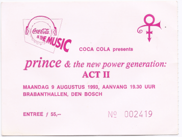 Prince & The NPG 08/09/1993 concert ticket (apoplife.nl)