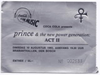 Prince & The NPG 08/10/1993 concert ticket (apoplife.nl)