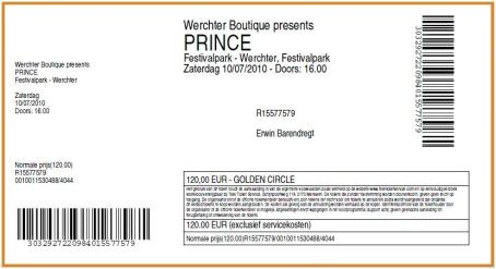 Prince 07/10/2010 concert ticket (apoplife.nl)