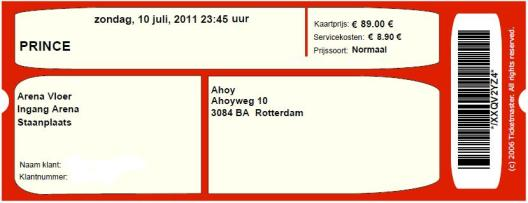 Prince 07/10/2011 concert ticket (apoplife.nl)