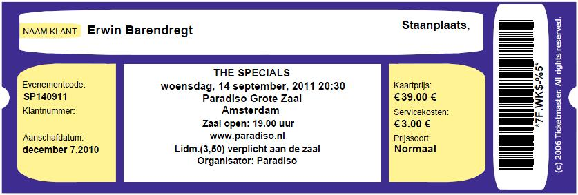 The Specials 09/14/2011 concert ticket (apoplife.nl)