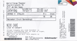Nick Cave 05/16/2015 concert ticket (apoplife.nl)