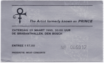 The Artist Formerly Known As Prince 25-03-1995 concertkaartje (apoplife.nl)