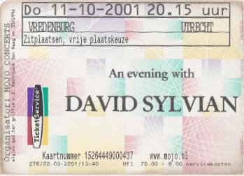 David Sylvian 11-10-2001 concertkaartje (apoplife.nl)