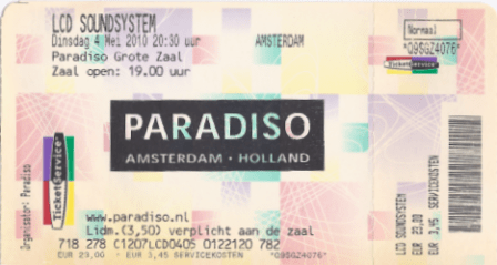 LCD Soundsystem 04-05-2010 concertkaartje (apoplife.nl)